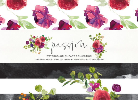 Watercolor Red Purple Flowers Arrangement Clipart Graphic Illustrations By Patishop Art