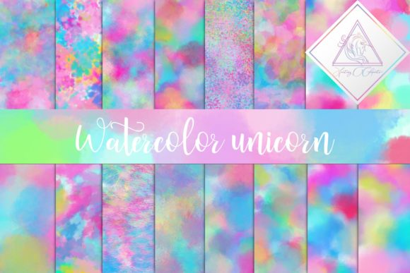 Print on Demand: Watercolor Unicorn Digital Paper Graphic Textures By fantasycliparts