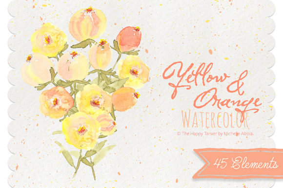 Print on Demand: Watercolor Yellow & Orange Flower Clipart Graphic Illustrations By Michelle Alzola