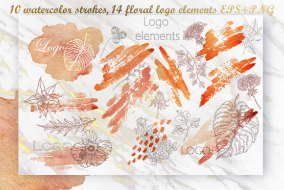 Print on Demand: Watercolor Strokes Floral Logo Elements Graphic Logos By LiterkaEm Store