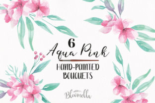 Watercolour Aqua Pink Floral Clipart - 6 Bouquets Arrangements Spring Hand Painted Graphic By Bloomella