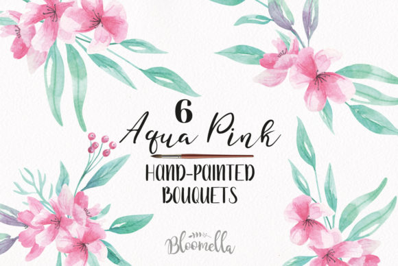 Download Free Watercolour Aqua Pink Floral Clipart 6 Bouquets Arrangements for Cricut Explore, Silhouette and other cutting machines.