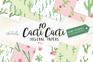 Watercolour Cactus Patterns Digital Papers Graphic By Bloomella