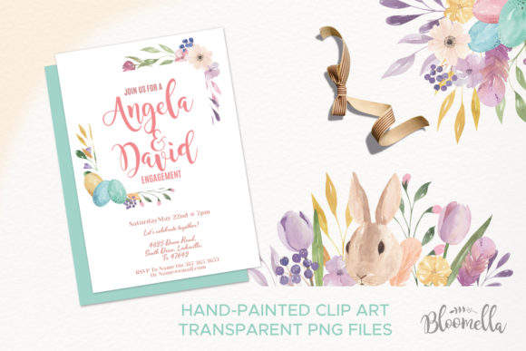 Watercolour Easter Flower 8 Frames Clipart Graphic Illustrations By Bloomella - Image 2
