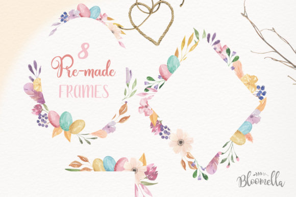 Watercolour Easter Flower 8 Frames Clipart Graphic Illustrations By Bloomella - Image 3