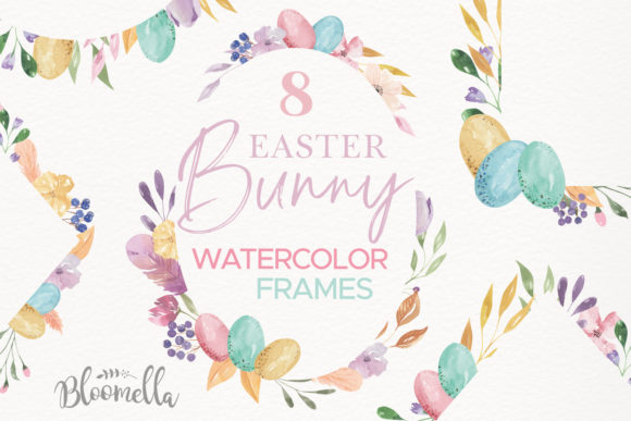 Download Free Watercolour Easter Flower 8 Frames Clipart Graphic By Bloomella for Cricut Explore, Silhouette and other cutting machines.
