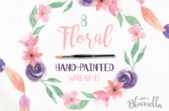 Watercolour Floral Wreaths Flowers Clipart Graphic Illustrations By Bloomella