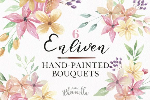 Watercolour Floral Clipart - 8 Pretty Flowers Bouquets Graphic Illustrations By Bloomella