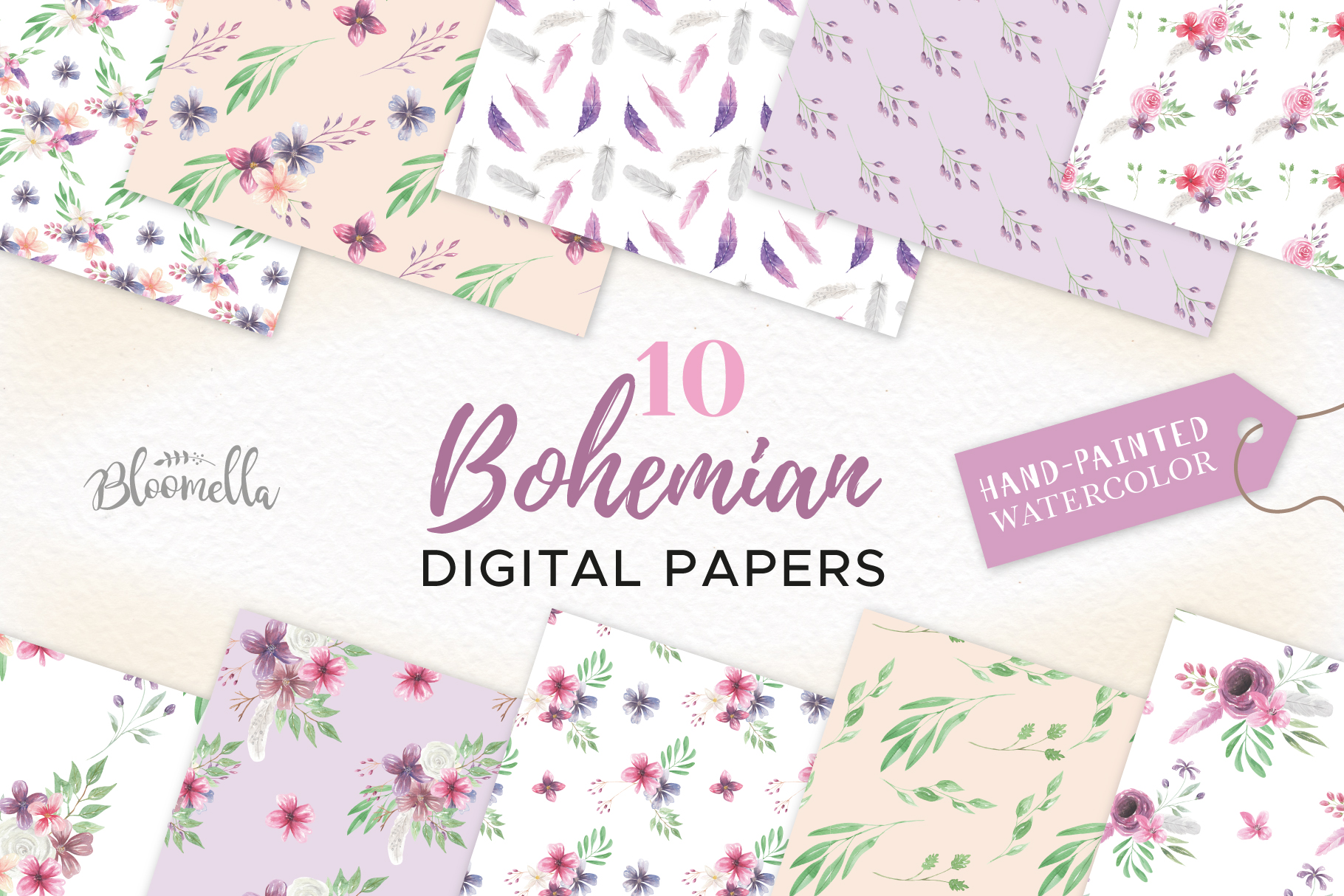 Download Free Watercolour Patterns Digital Papers Graphic By Bloomella for Cricut Explore, Silhouette and other cutting machines.