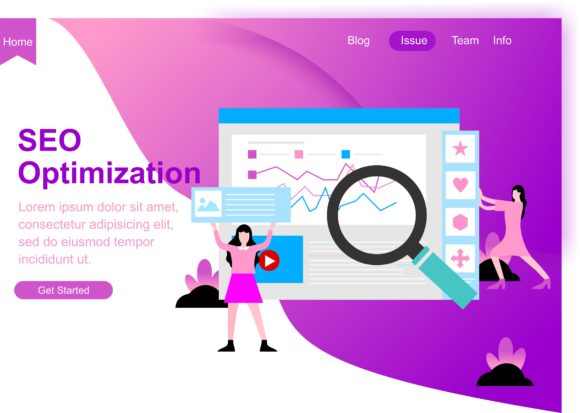 Web Page Design for SEO, Teamwork and Business Strategy. Modern Website Vector Illustration