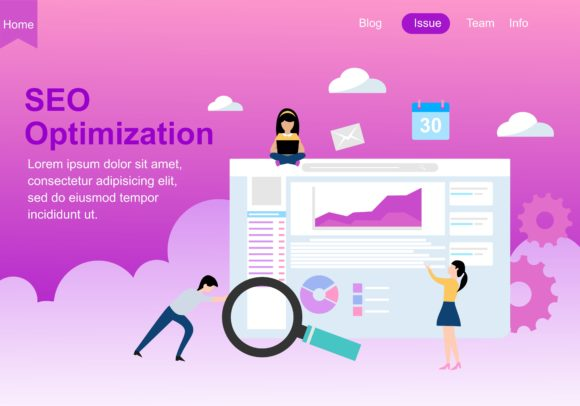 Web Page Design for SEO, Teamwork and Business Strategy. Modern Website Vector Illustration Graphic Landing Page Templates By DEEMKA STUDIO