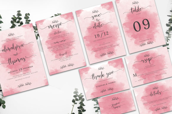 Print on Demand: Wedding Invitation Suite Vol. 01 Grafik Druck-Templates von rometheme