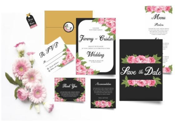 Wedding Invitation Templates With Rose Watercolor Style
