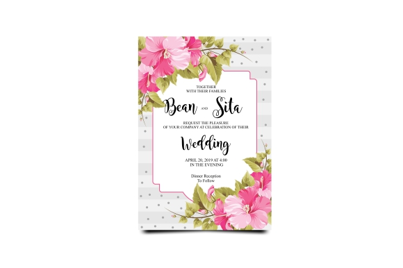 Download Free Wedding Invitation With Bougainvillea Frame Graphic By Bint for Cricut Explore, Silhouette and other cutting machines.