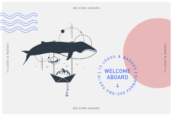 Print on Demand: Welcome Aboard. 15 Logos & Badges Graphic Illustrations By Cosmic Store