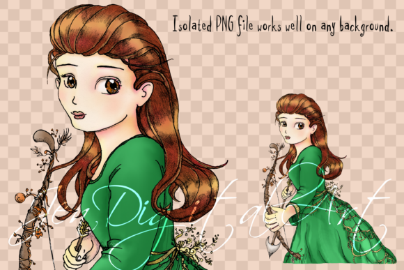 Whimsical Forest Archery Princess Graphic By Jen Digital Art Image 3