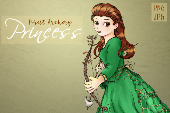 Whimsical Forest Archery Princess Graphic Illustrations By Jen Digital Art