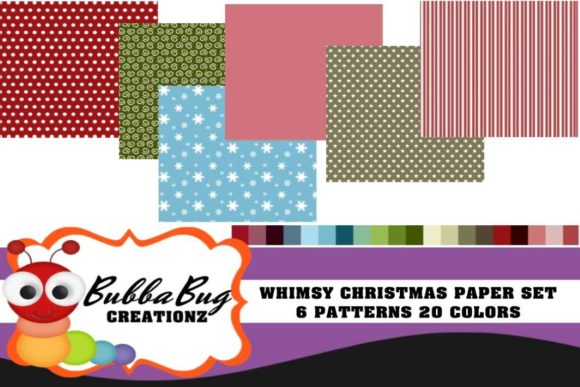 Whimsy Christmas Paper Set Graphic Patterns By BUBBABUG