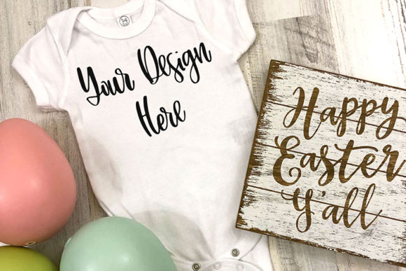 Download Free White Baby Bodysuit Easter Styled Mockup Photo Graphic By for Cricut Explore, Silhouette and other cutting machines.