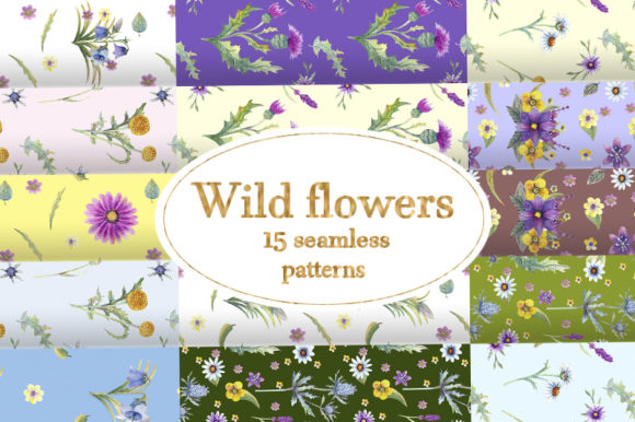 Download Free Wild Flowers Watercolor Graphic By Natika Art Creative Fabrica for Cricut Explore, Silhouette and other cutting machines.
