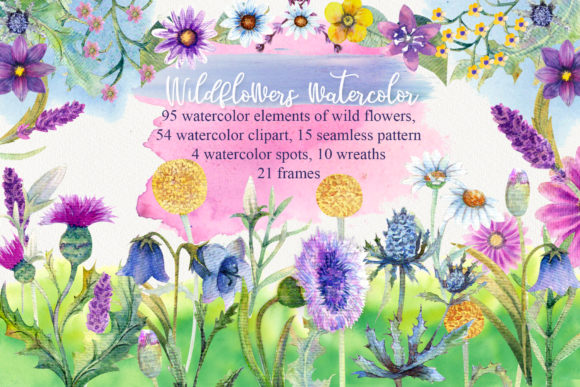 Print on Demand: Wild Flowers Watercolor Graphic Illustrations By Natika_art
