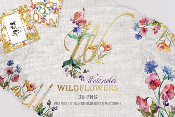 Print on Demand: Wildflowers Charming Watercolor Graphic Illustrations By MyStocks - Image 1