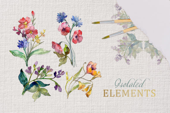 Print on Demand: Wildflowers Charming Watercolor Graphic Illustrations By MyStocks - Image 7