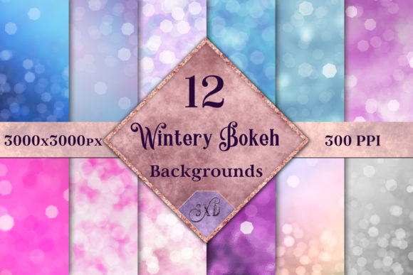 Print on Demand: Wintery Bokeh Backgrounds Graphic Backgrounds By SapphireXDesigns