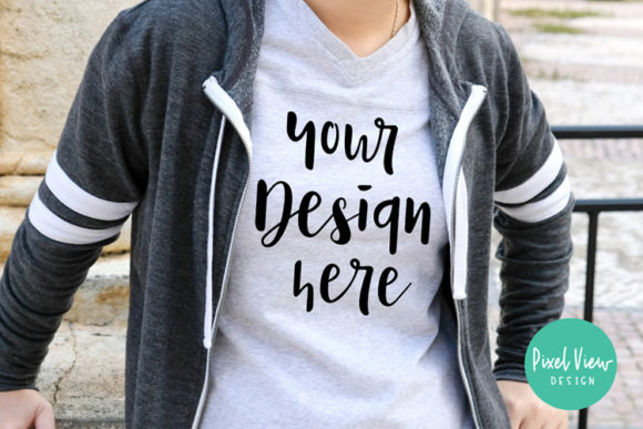Print on Demand: Women's Gray T-shirt Mockup, Mockup T-Shirt Graphic Product Mockups By Pixel View Design