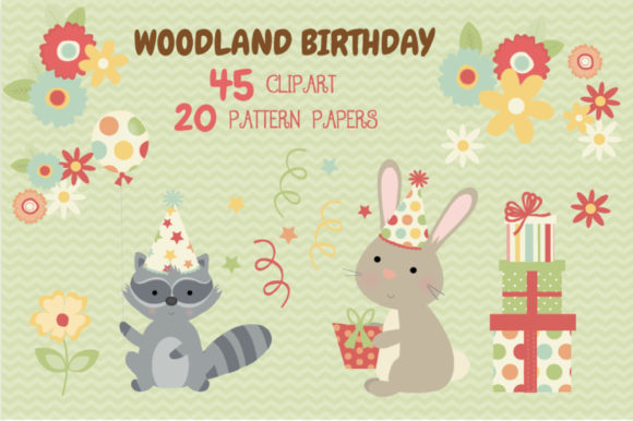 Print on Demand: Woodland Animal Birthday Bundle Graphic Illustrations By poppymoondesign