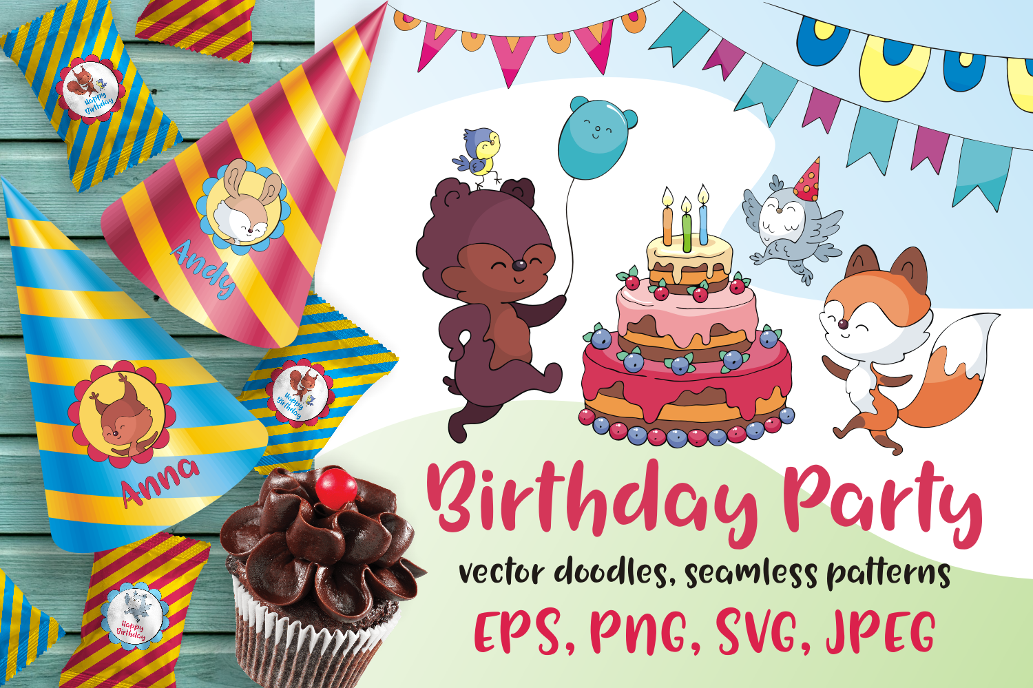 Download Free Woodland Birthday Animals Graphic By Olga Belova Creative Fabrica for Cricut Explore, Silhouette and other cutting machines.
