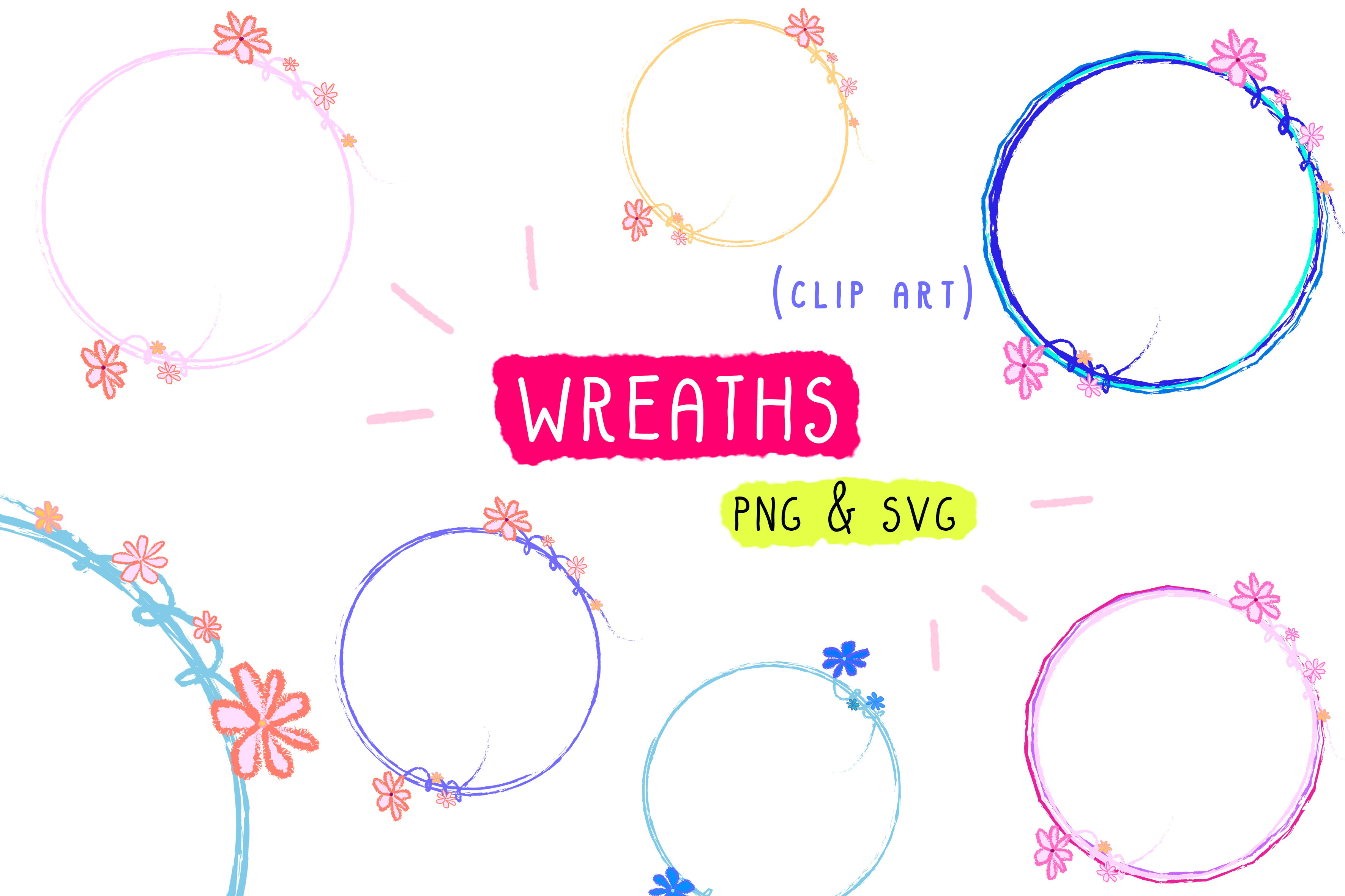 Download Free Wreath Clip Art Frame Graphic By Inkclouddesign Creative Fabrica for Cricut Explore, Silhouette and other cutting machines.