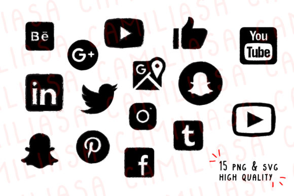 Print on Demand: Youtube Clip Art, Social Media Graphic Icons By Inkclouddesign