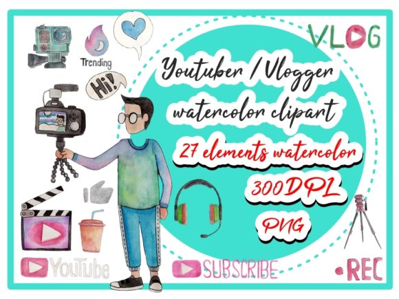 Youtuber Watercolor Clipart Graphic Illustrations By greentosca.std