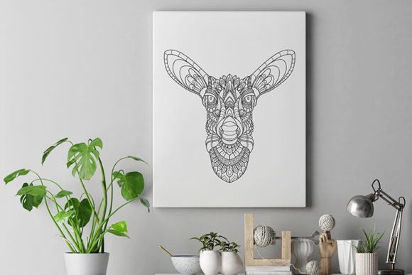 Zentangle Stylized Deer Heads Graphic Illustrations By lemoncraft