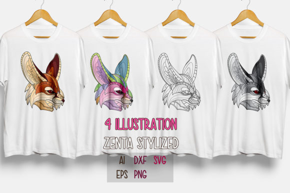 Download Free Zentangle Stylized Fennec Fox Head Pack Grafico Por Lemoncraft for Cricut Explore, Silhouette and other cutting machines.