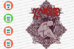 Zombie Girl Graphic Print Templates By Monkey Art Work