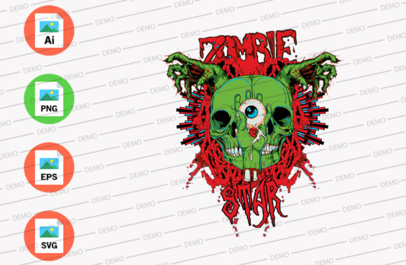 Zombie Star Green Color Graphic Illustrations By Skull and Rose