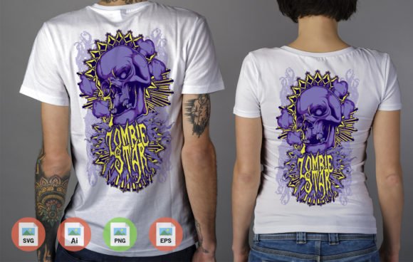 Zombie Star Blue Color Graphic Illustrations By Skull and Rose - Image 2