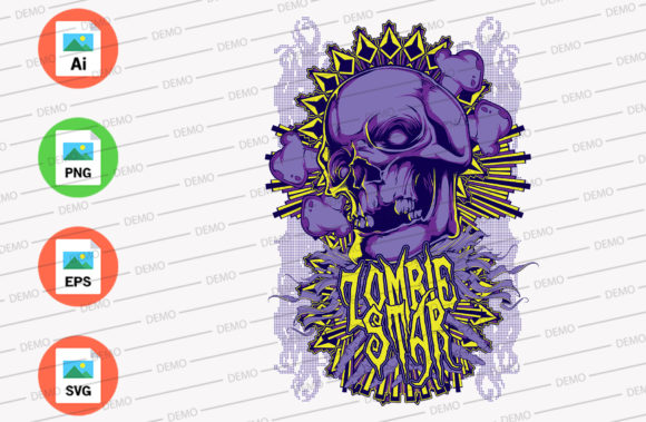 Zombie Star Blue Color Graphic Illustrations By Skull and Rose