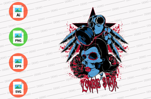 Zombie Star Graphic Illustrations By Skull and Rose