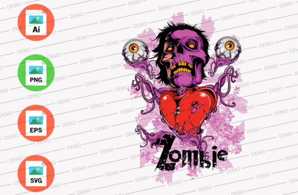 Zombie with Red Heart Graphic Illustrations By Skull and Rose