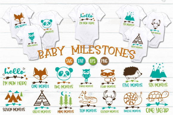 Download Free Baby Boy Milestones Cut Files Graphic By Craft Pixel Perfect for Cricut Explore, Silhouette and other cutting machines.