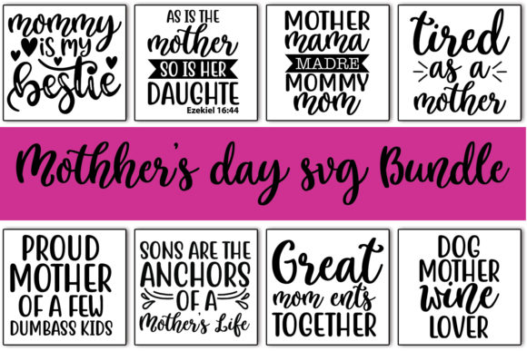Print on Demand: 10 Mother's Day Quotes Bundle Graphic Print Templates By svgbundle.net