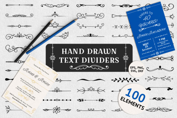100 Hand Drawn Text Dividers Graphic Illustrations By Kirill's Workshop - Image 1