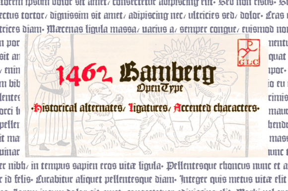 Print on Demand: 1462 Bamberg Blackletter Font By GLC Foundry