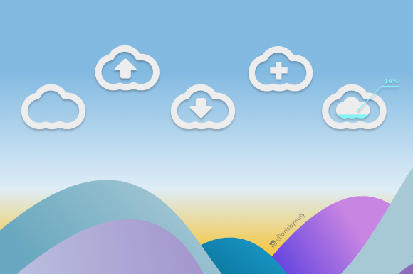 Print on Demand: 20 Cloud Elements Kit Graphic Icons By artsbynaty - Image 3
