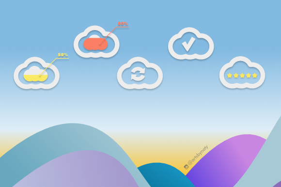 Print on Demand: 20 Cloud Elements Kit Graphic Icons By artsbynaty - Image 4
