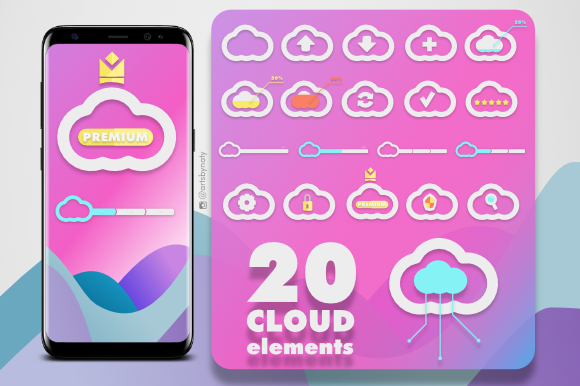 Print on Demand: 20 Cloud Elements Kit Graphic Icons By artsbynaty