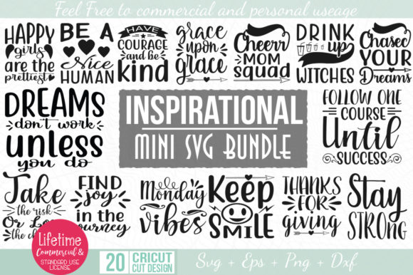 20 Inspirational Quotes SVG Pack 1 Graphic By Graphicsqueen